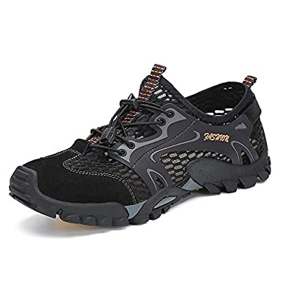 SITAILE Water Shoes Men Women Quick Dry Barefoot Aqua Swim River Shoes for Pool Beach Hiking Walking Shoes Black Size 10.5