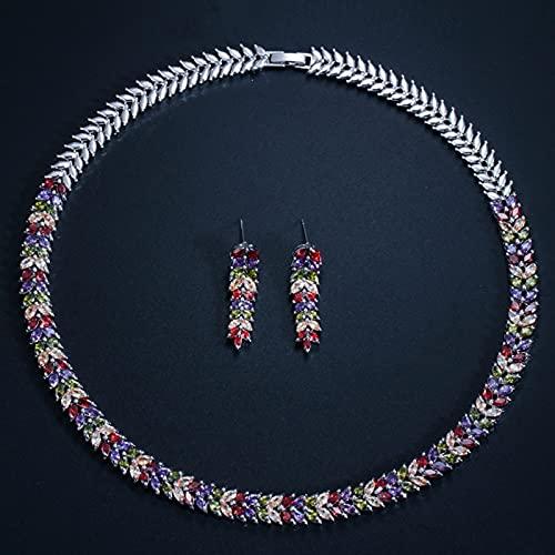 WJCRYPD Collar De Gargantilla Nupcial De Zirconia Cúbica De Múltiples Colores con Pendientes para Novias Joyería De Fiesta De Bodas Juegos de joyería Qf Shop (Metal Color : Multicolor)