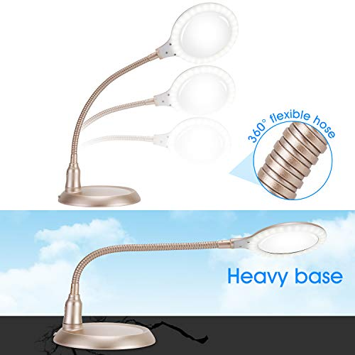 Nomiou 5X Magnifier Glass Lamp,LED Light and Flexible Neck,Magnifying Lamp USB Powered,Perfect for Reading,Hobbies,Task Crafts or Workbench