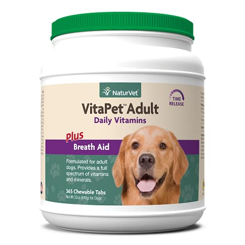 NaturVet – VitaPet Adult Daily Vitamins for Dogs – Plus Breath Aid – Provides a Full Spectrum of Vitamins & Minerals – Enhanced with Omega-6 Fatty Acids (365 Time Release Chewable Tablets)