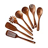 DHZYY 7 Paquetes de utensilios de cocina, conjunto de utensilios de cocina, herramienta de cocina sin palan, cucharas de cocina de madera y espátulas cucharas de madera para cocinar una horquilla de e