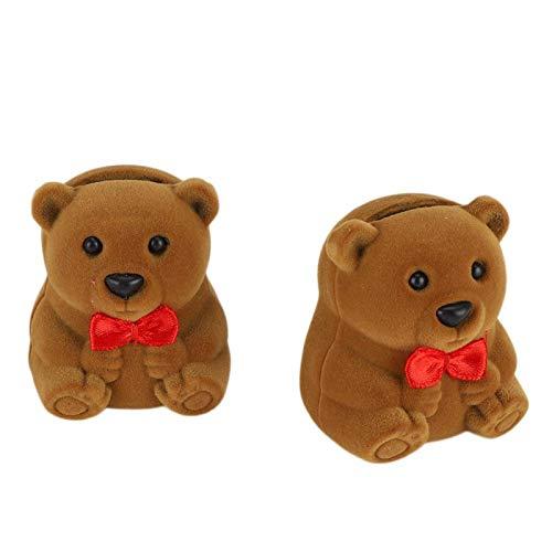 YIHEXUANkeji Caja de anillas, un juego de 2 bonitos soportes en forma de oso, caja de doble anillo para parejas, pendientes, caja de regalo, adecuado para la escena de propuestas de matrimonio.