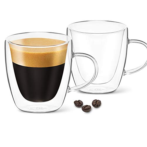 DLux Espresso Coffee Cups 3oz, Double Wall, Clear Glass set of 2 Glasses with Handles, Insulated Borosilicate Glassware Tea Cup
