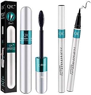 4D Silk Fiber Lash Mascara & Fiber 2-in-1 Set,Liquid mascara + eyeliner Waterproof, long-lasting, thick, a dual-use mascar...