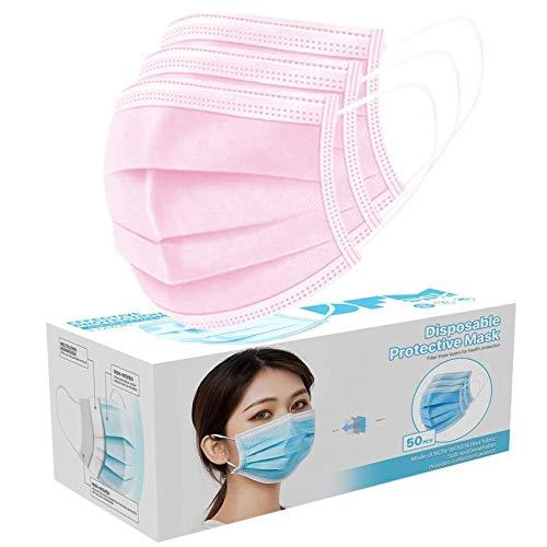 YusellYu Mund und Nasenschutz, 50 Stück Luftreinigungsabdeckung Anti-Staub 3-lagiger Mundfilter (Rosa)