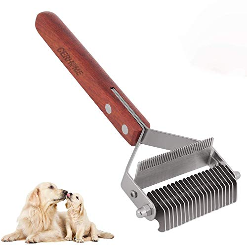 Dog Brush and Cat Brush – 2 Sided Pet Grooming Tool for Deshedding, Mats & Tangles Removing – No More Nasty Shedding and Flying Hair (L)