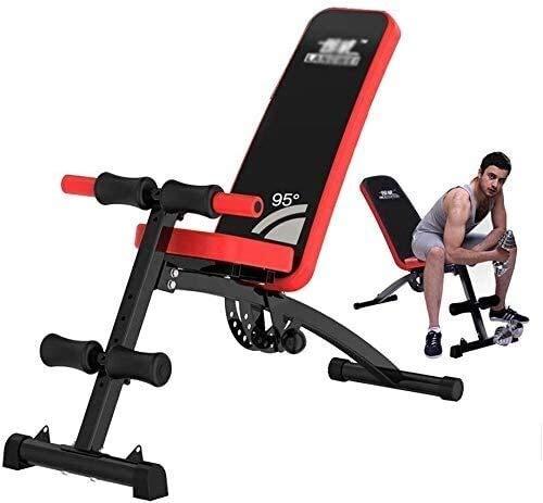 Banco de pesas ajustable para sentarse y sentarse en el abdomen, multifunción, para hacer ejercicio en el hogar, equipo abdominal, equipo abdominal,, piel sintética acero, negro, 130*44*60cm