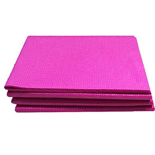 Yoga Mat Plegable De Viaje Ligero De PVC Mat Colchoneta De Ejercicio De Entrenamiento De Pilates Aerobic Ejercicios De Suelo Rosy