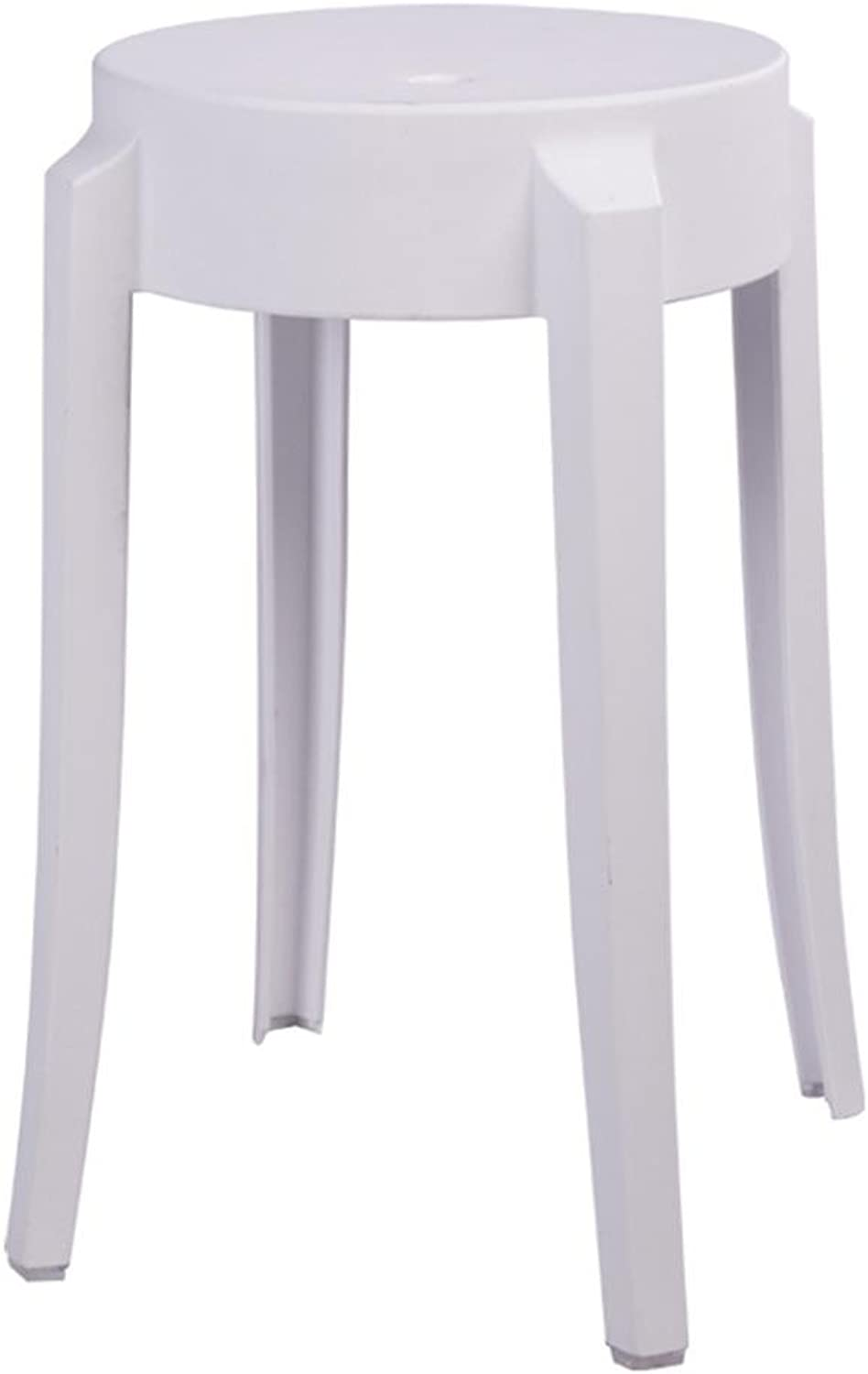 Creative Table Stool Thicken Plastic Stool Computer Chair Strong eat Office Multiple Colour Can be superimposed 29  29  46, White [Thickening New Engineering Material],Strong