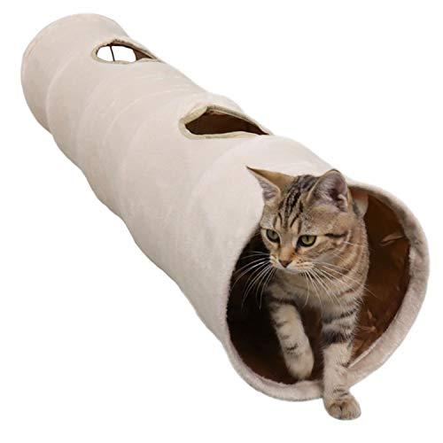 LeerKing Tunnel per Gatti Giocattolo Scamosciata Pieghevole Raschel Tunnel per Tutti i Gatti e Piccoli Animali con 2 Grotte, Giochi Tunnel Gatto, 120 × 25cm