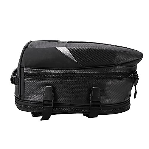 bysonice Bolsa universal para motocicleta, bolsa trasera de tela para moto, bolsa de almacenamiento para equipaje, resistente al agua, ampliable para moto y bicicleta