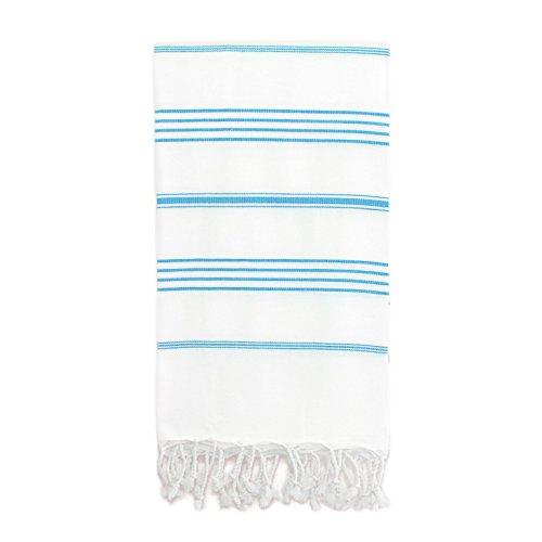 Linum Home Textiles Lucky Fouta/Serviette Fouta, Blanc/Turquoise, None