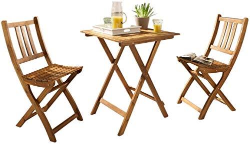 SAM 3-TLG. Balkongruppe Blossom, Akazienholz geölt, Gartengruppe mit 1 Tisch 70x70 cm + 2 Stühle, klappbar