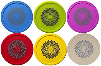 No Fly Zone - Outdoor Coasters & Wine Glass Cover for Bugs. Silicone Wine Tops (6 pack - Multicolor Grey Dots, 6)