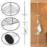 Estantería de Ducha telescópica de 4 Capas para baño, Estante de Almacenamiento de Esquina telescópico 190-310cm, Estante Organizador de Acero Inoxidable para Inodoro