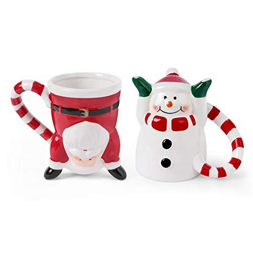 Santa Claus & Snowman Ceramic Christmas Mugs Holiday Character Upside Down Christmas Coffee Cups set of 2