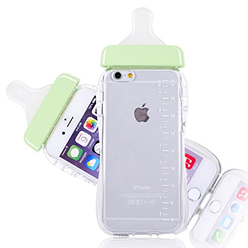 Generic Baby Bottle Cute 3D TPU Soft Pregnant Woman Milk Bottle Clear Case Lanyard Case Cover for iPhone 6 (Green)