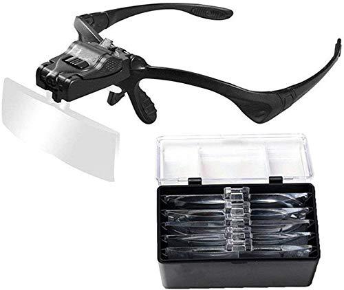 YouFia LED Kopfbandlupe Lupenbrille mit Licht Brillenlupe Lupe Leselupe,Schwarz