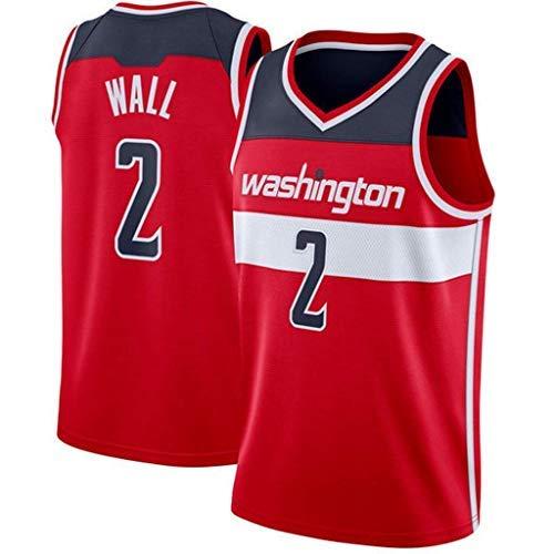 YSA Baloncesto Jersey NBA Washington Wizards # 2 John Wall, Tela Transpirable Fresca Nuevas Camisetas Retro Bordadas, Uniforme de fanático del Baloncesto Unisex, Rojo, S: 170 cm / 50~65 kg