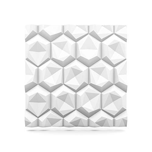 Styling Panel Hexagon - 4,32qm Wandpaneel mit Relief aus robustem recyclingfähigem Kunststoff - Deckenpaneele Fliesen Wandbezug Wandverkleidung Wanddeko Wandplatten - Alternative zur Tapete