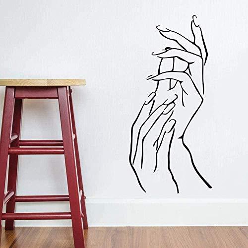 YFKSLAY Salon de beauté décoration Sticker Mural Femme Femme Femme Fille Main Spa manucure décoration Art Vinyle Autocollant Nail Salon Wall Art Mural 26 * 57 cm