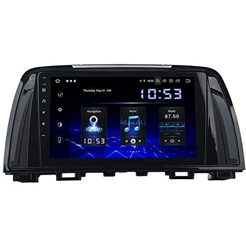 Coche Estéreo Auto Audio Player Doble Din FM Radio Android 10.0 Sat Nav LCD Monitor De 9 Pulgadas Pantalla Táctil GPS Navegación Compatible Con Mazda Atenza 6 2013-2016,8 core 4G+WiFi 4+64GB