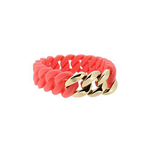 Hanse-Klunker Armband Damen Mini Silikon Koralle, Edelstahl Rosegold Armreif Armkette Frauen Mädchen Größe 18-19 cm inkl. Schmuck-Geschenk-Box