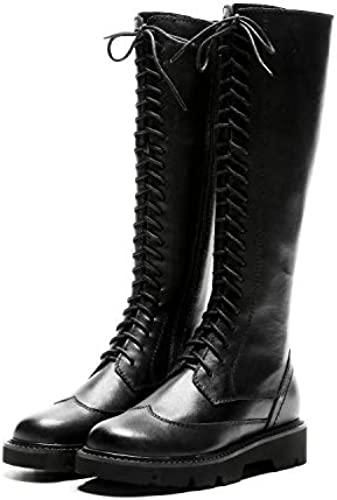 HOESCZS Bottes Bottes Martin bottes Cross Straps Martin bottes Thick with High bottes Side Zipper Knight bottes Long bottes Autumn and Winter Full Leather Wohommes bottes  exclusif