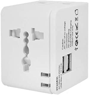 XIMINGJIA-O Power Plug Adapter - International Travel - 2 USB Ports in Over 150 Countries - 100-240 Volt Adapter - (1 Pack) Black International Converter, (Color : White)