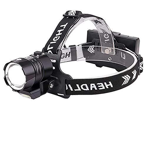 Linterna Frontal LED Alta Potencia 12000 Lúmenes, WESLITE XHP90 Linterna Frontal LED Recargable Luz Frontal Cabeza Impermeable 4 Modos con Zoom para Casco, Camping, Reparación de Automóviles