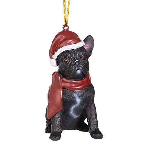 Design Toscano Christmas Xmas French Bulldog Holiday Dog Ornaments, Full Color