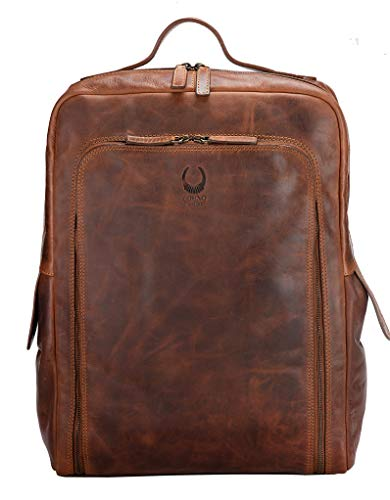 Corno d´Oro Leather Backpack Large for Men and Women I XL Messenger Backpack for 17 Inch Laptop I Vintage Backpack Laptop Backpack Brown BP816