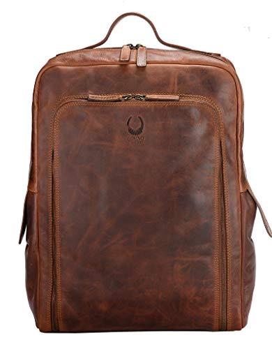 Corno d'oro, zaino in pelle, grande, per uomo e donna, zaino XL per laptop da 17 pollici, stile vintage, colore marrone BP816