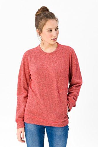 super.natural Damen Pullover, Mit Merinowolle, W VACATION KNIT CREW, S, Hellrot meliert