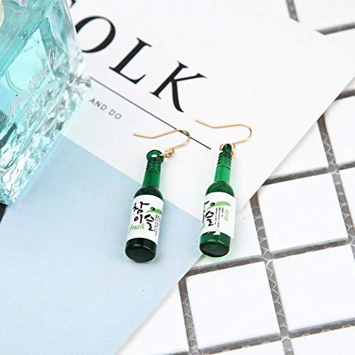 ADAGG Pendientes Xzhyue, Regalo para Amigos, Novia, Botella de Cerveza Creativa, Pendientes Simples con Gancho para la Oreja, joyería de plástico para Mujer (Verde)
