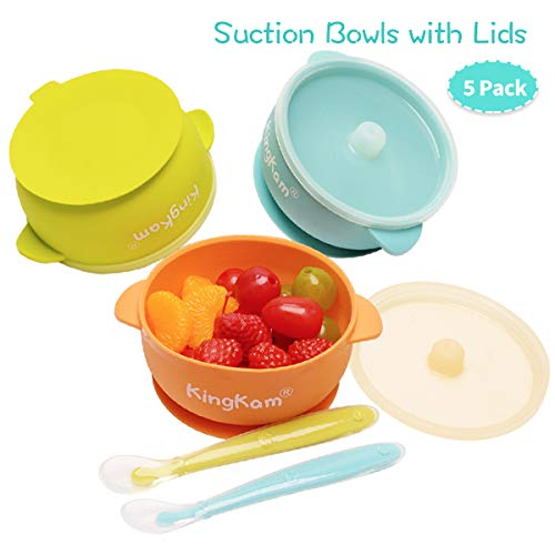 Baby Bowls with Lids, Best Suction Bowls for Baby Toddler self-Feeding, 100% Safe Leak-Proof Silicone Bowl with Lid, Disheasher & Micromave Safe (Orange & Green & Blue)