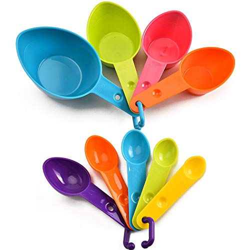 None/Brand Heiqlay Messlöffel Kunststoff, Messlöffel Backen, Messlöffelsets, 7 Messbecher mit Unterschiedlichen Kapazitäten für Die Küche mit Skalenmesslöffeln