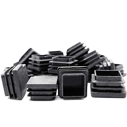 Gurxi Tapón Final de Plástico Negro Tapón de Tubo Cuadrado Negro Tapa de Poste de Tubo para Muebles Pies Trampolín Terraza Cubierta de Silla Sofás Mesas de Acero Estantes Armarios 40 Piezas (Negro)