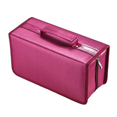 alavisxf xx CD Tasche, 160 CD/DVD Tasche Nylon CD Taschen Aufbewahrung Schutzhülle DVD Lagerung CD Tasche für Kinder Auto(Rot)