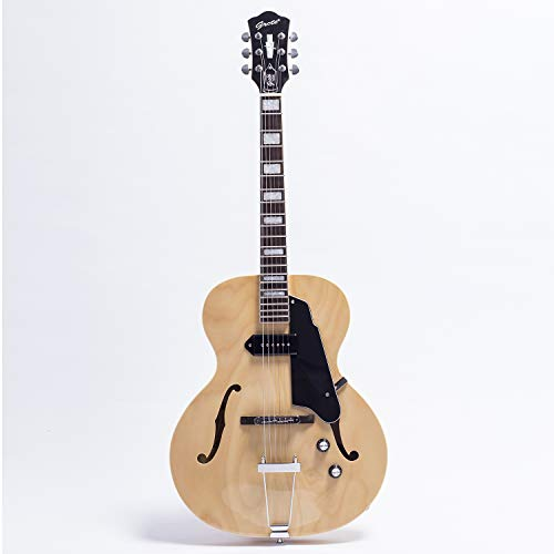 GROTE Jazz Electric Guitar Hollow Body Chrome Hardware (Natural)