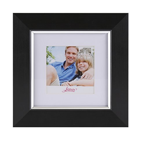 Lilian Black with Silver Display 6x6 Desk/Wall Picture Frame - Made to Display Pictures 4x4 with Mat or 6x6 Without Mat - Wall Mounting Material Included.