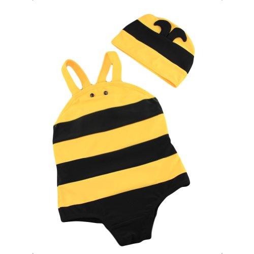 Locomo Mignon garçon Fille Kid Unisexe Honey Bee Maillots de Bain Maillot de Bain Bikini Body Chapeau Jaune Noir rayé Grande Fbs003l - Jaune - 3 Ans