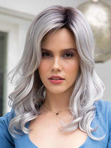 Ensley Wig Color Moonstone - Rene of Paris Wigs 13' Long Layered Curly Lace Front Partial Monofilament Synthetic Hair Sweeping Bangs Avg Cap Orchid Collection 6' Fringe Bundle MaxWigs Hairloss Booklet