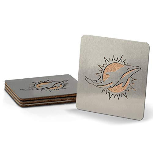 """YouTheFan NFL Miami Dolphins Boaster Stainless Steel Coaster Set of 4 , 4"""" x 4"""""""