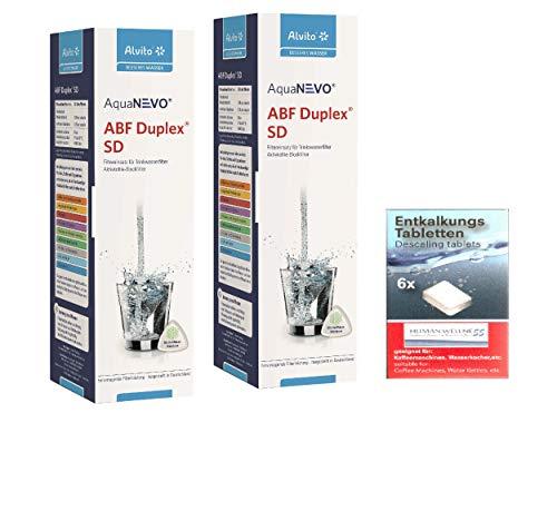 Alvito 2 x Wasserfilter ABF Duplex SD AquaNevo - Aktivkohle Blockfilter 1,5 µm + Entkalkertabs
