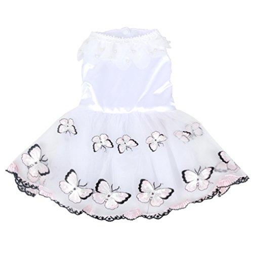 smalllee_lucky_store Schmetterling Brautkleid Brautjungfer Tutu Tüllrock Sommer Chihuahua Kleine Hunde Kleidung für Mädchen Rosa XS
