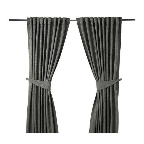 IKEA BLEKVIVA 2 Gardinen + Raffhalter, grau 145x300 cm