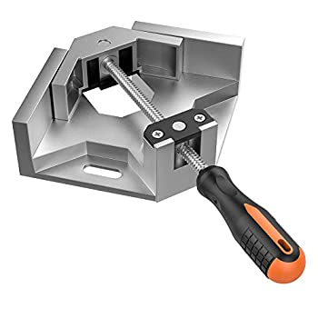Right Angle Clamp Housolution Single Handle 90° Aluminum Alloy Corner Clamp Right Angle Clip Clamp Tool Woodworking Photo Frame Vise Holder with Adjustable Swing Jaw - Silver Gray