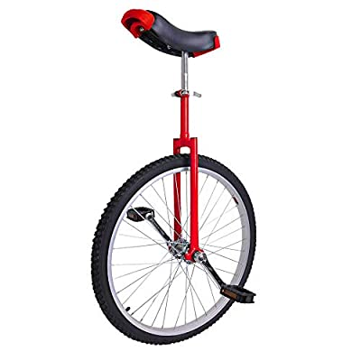 "24"" Inch Tire Chrome Unicycle Wheel Training Style Cycling w/ Stand Release Saddel Seat Balance Mountain Exercise Bike - Red"