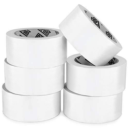 Heavy Duty White Duct Tape - 6 Roll Multi Pack - 20 Yards x 2 Inch - Strong, Flexible, No Residue, All-Weather and Tear by Hand - Bulk Value for Do-It-Yourself Repairs, Industrial, Professional Use